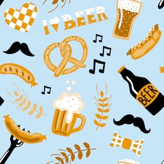 Hand drawn doodle style beer seamless pattern.