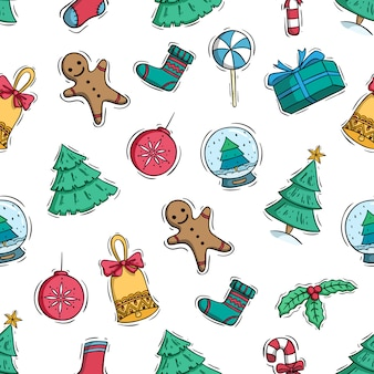 Hand drawn or doodle style of christmas elements in seamless pattern