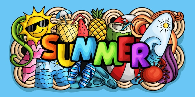 Hand drawn doodle style summer background