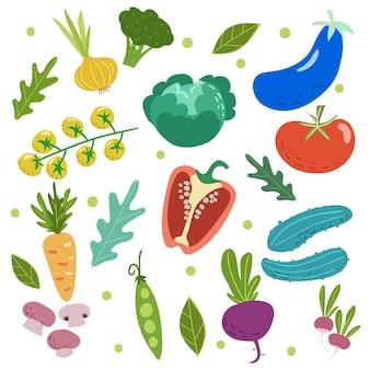 손으로 그린 낙서 스타일의 야채 세트입니다. 토마토, 양배추, 완두콩, 오이, 당근, 가지, 버섯 등 흰색 배경에 고립 된 벡터 일러스트 컬렉션입니다.