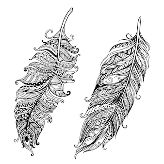 Hand drawn doodle stylized feathers background