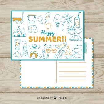 Hand drawn doodle summer postcard