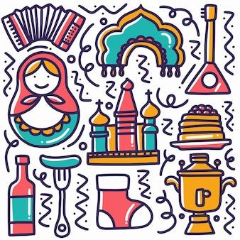 アイコンとデザイン要素と手描き落書きタイの休日