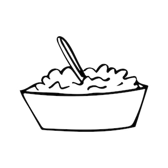 Hand drawn doodle thanksgiving or christmas porridge icon in child draw style