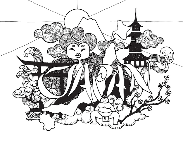 Hand drawn doodle a theme of travel to japan