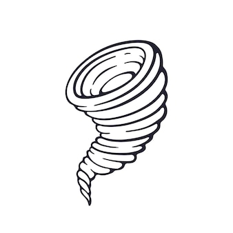 Hand drawn doodle of tornado swirl funnel of hurricane whirlwind storm vector illustration