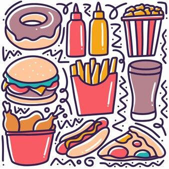 Рисованной каракули различных фаст-фуд с иконами и элементами дизайна
