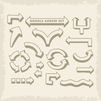 Hand drawn doodle vector arrows set