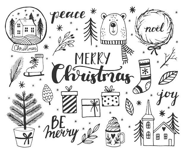 Hand drawn doodle vector illustration christmas line art drawings in black color