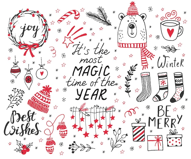 Hand drawn doodle vector illustration christmas line art drawings in black and red