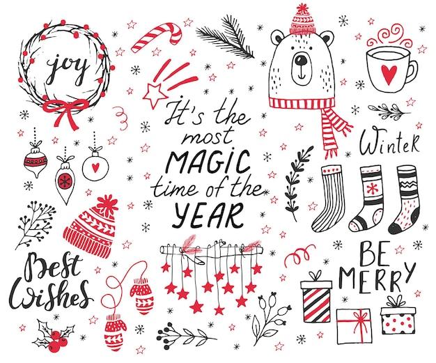 Рисованной каракули векторные иллюстрации рождественские штриховые рисунки в черном и красном