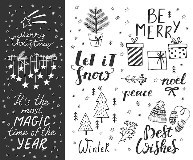 Hand drawn doodle vector illustration christmas line art drawings