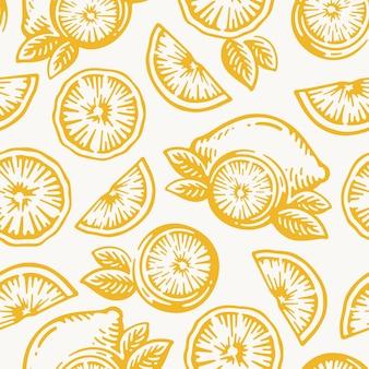 레몬 과일, 오렌지 또는 귤 수확 벡터 패턴 완벽 한 배경의 손으로 그린 낙서 빈티지.