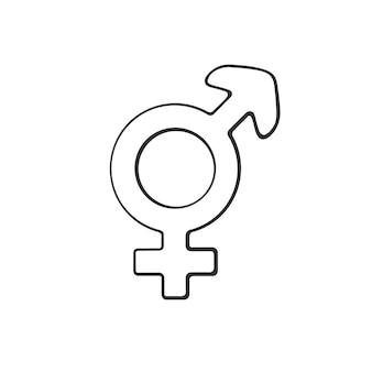 Hand drawn doodle with transgender or hermaphrodite symbol gender pictogram vector illustration