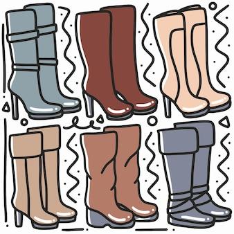 Рисованный каракули женские ботинки обуви арт дизайн элемент иллюстрации