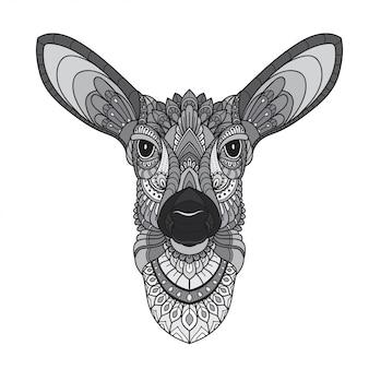 Hand drawn doodle zentangle deer illustration-vector