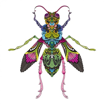 Hand drawn doodle zentangle fly illustration-vector.