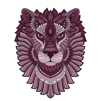 Hand drawn doodle zentangle lion illustration-vector.