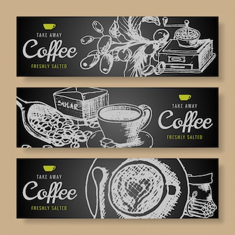 Hand drawn doodles coffee banner set