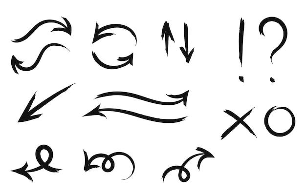 화살표, 느낌표, 물음표, 십자가 및 0의 손으로 그린 낙서.