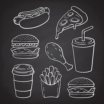 Рисованной каракулей гамбургер, хот-дог, пицца, чизбургер, набор векторных иллюстраций быстрого питания