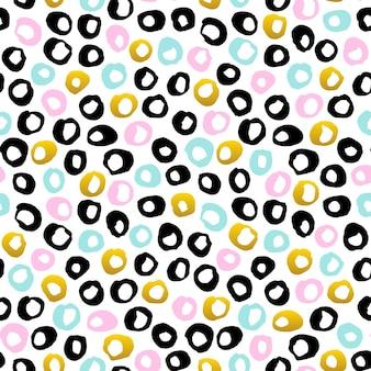 손으로 그린된 점 완벽 한 패턴입니다. 80 년대 스타일 타일 소식통 배경 벡터 일러스트 레이 션.