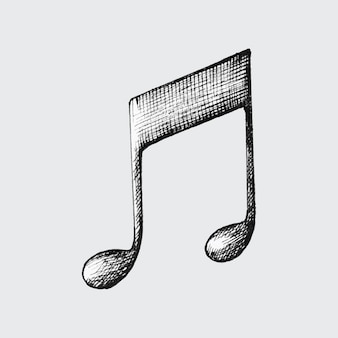 Hand-drawn double eighth note illustration