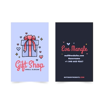 Hand drawn double-sided vertical business card template