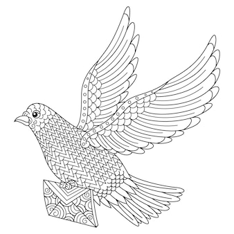 Hand drawn of dove bird in zentangle style