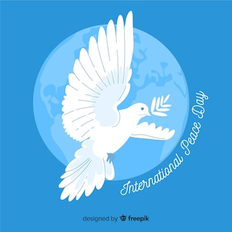 Hand drawn dove peace day background