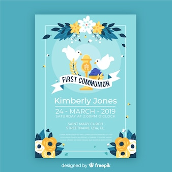 Hand drawn doves first communion invitation