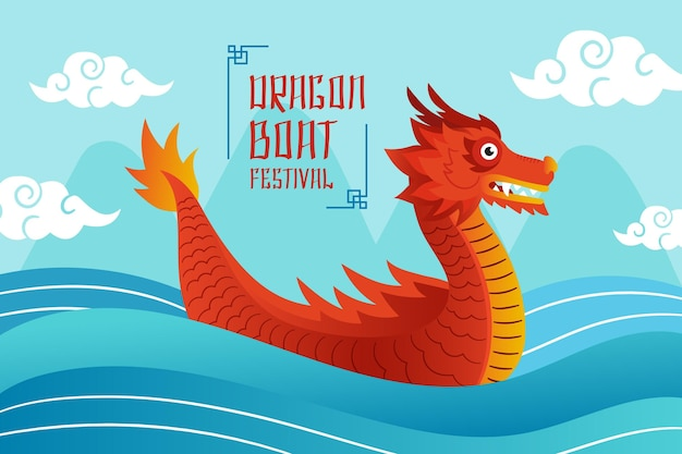 Hand drawn dragon boat background