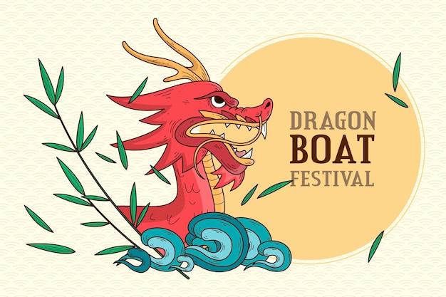 Ручной обращается фон лодка дракона