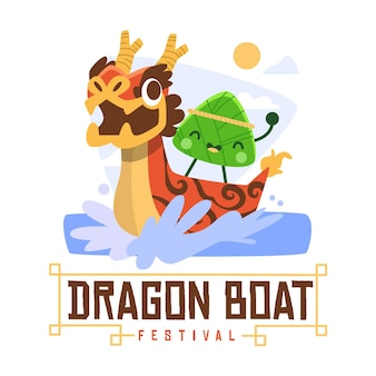Hand drawn dragon boat background