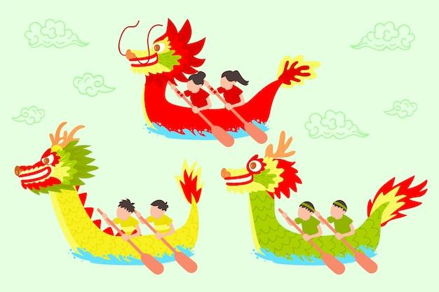 Нарисованная вручную тема коллекции лодок-драконов