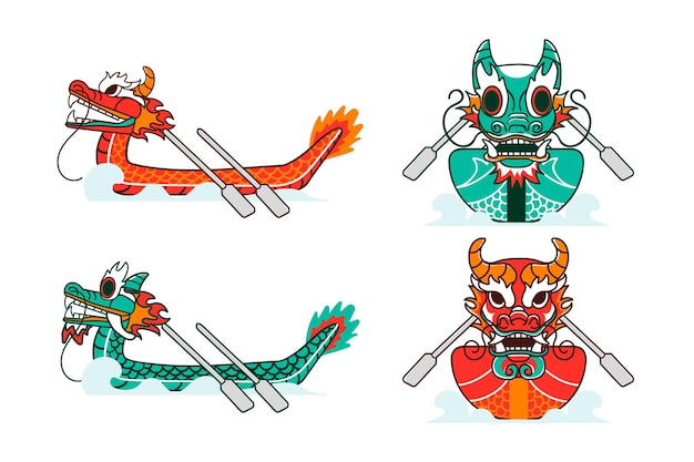 Hand drawn dragon boat collection