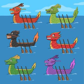Ручной обращается коллекция лодок-драконов