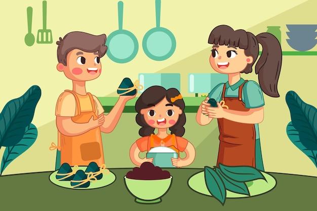 Hand drawn dragon boat family preparing and eating zongzi illustration
