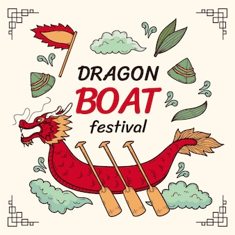 Hand drawn dragon boat festival illustration