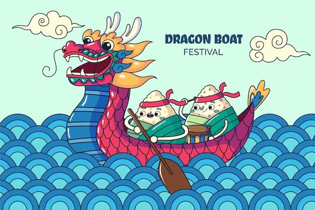 Hand drawn dragon boat illustration