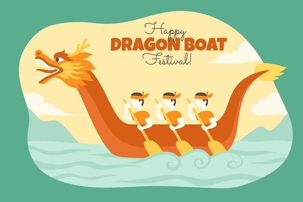 Нарисованная рукой иллюстрация лодки дракона