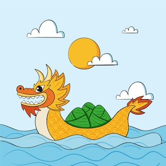 Hand drawn dragon boat illustration