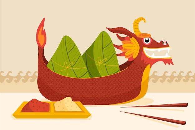手描きのドラゴンボートのzongzi背景