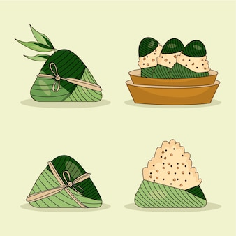 Hand drawn dragon boat's zongzi collection