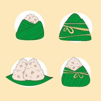 손으로 그린 드래곤 보트의 zongzi 컬렉션