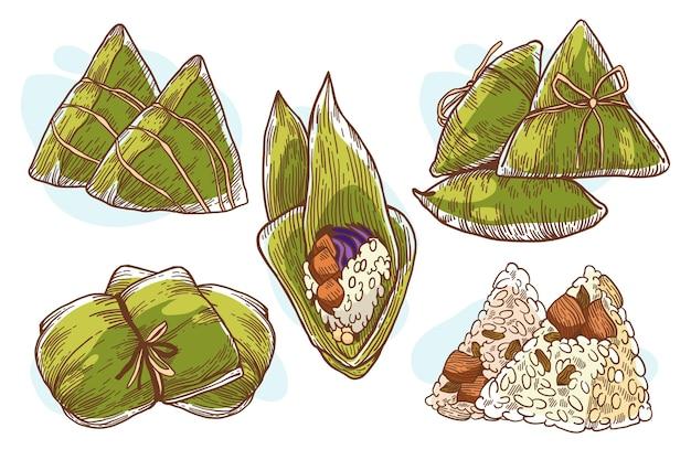 Collezione di zongzi di dragon boat disegnata a mano