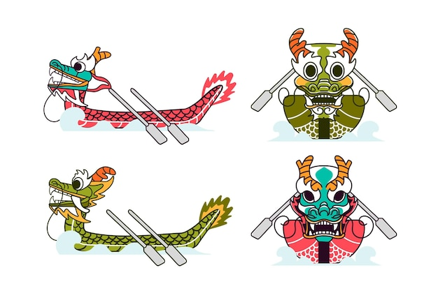 Hand drawn dragon boat set