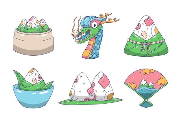 Collezione di zongzi disegnati a mano barche drago