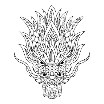 Hand drawn of dragon head in zentangle style
