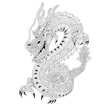 Hand drawn of dragon in zentangle style